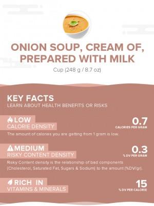 Onion soup, cream of, prepared with milk