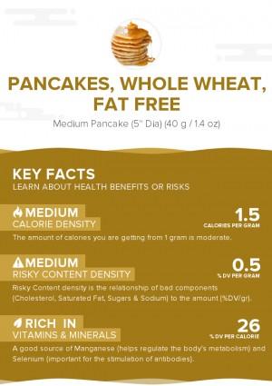Pancakes, whole wheat, fat free