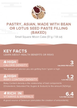 Pastry, Asian, made with bean or lotus seed paste filling (baked)