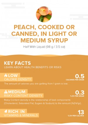 Peach, cooked or canned, in light or medium syrup