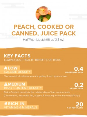 Peach, cooked or canned, juice pack