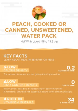 Peach, cooked or canned, unsweetened, water pack