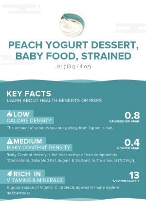 Peach yogurt dessert, baby food, strained