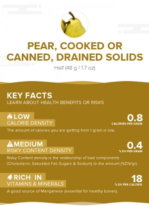 Pear, cooked or canned, drained solids