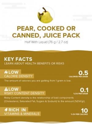 Pear, cooked or canned, juice pack