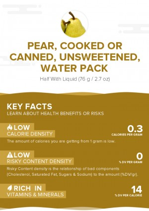 Pear, cooked or canned, unsweetened, water pack