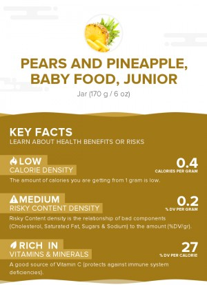 Pears and pineapple, baby food, junior