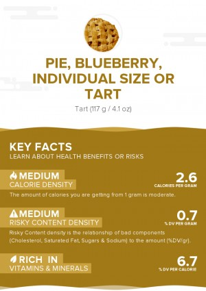 Pie, blueberry, individual size or tart