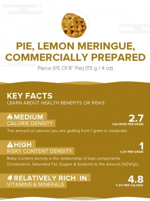 Pie, lemon meringue, commercially prepared