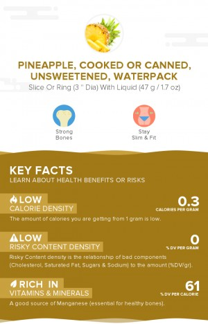 Pineapple, cooked or canned, unsweetened, waterpack