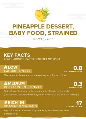 Pineapple dessert, baby food, strained