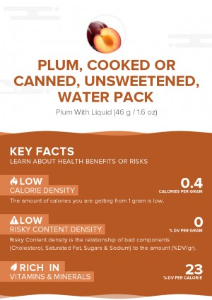 Plum, cooked or canned, unsweetened, water pack