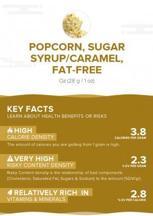 Popcorn, sugar syrup/caramel, fat-free