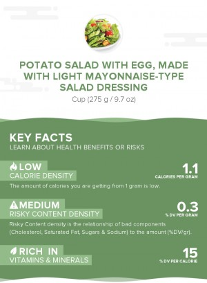 Potato salad with egg, made with light mayonnaise-type salad dressing