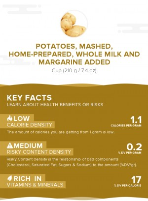 Potatoes, mashed, home-prepared, whole milk and margarine added