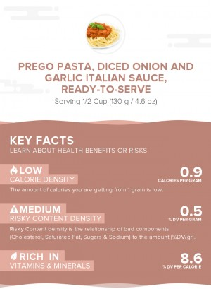 PREGO Pasta, Diced Onion and Garlic Italian Sauce, ready-to-serve