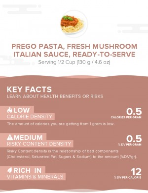 PREGO Pasta, Fresh Mushroom Italian Sauce, ready-to-serve
