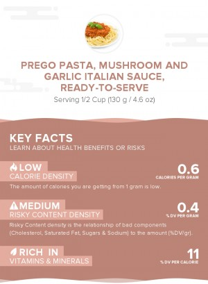 PREGO Pasta, Mushroom and Garlic Italian Sauce, ready-to-serve