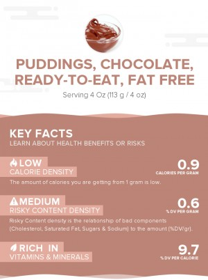 Puddings, chocolate, ready-to-eat, fat free