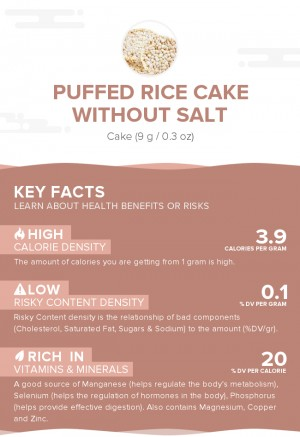 Puffed rice cake without salt