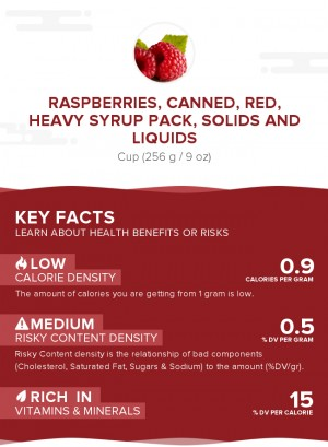 Raspberries, canned, red, heavy syrup pack, solids and liquids