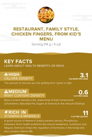 Restaurant, family style, chicken fingers, from kid's menu