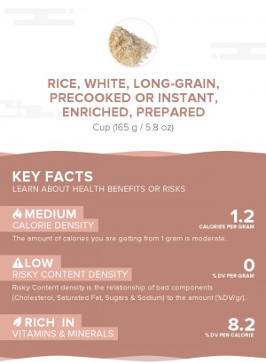 Rice, white, long-grain, precooked or instant, enriched, prepared