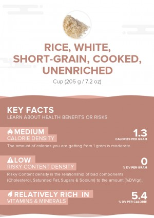 Rice, white, short-grain, cooked, unenriched