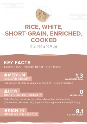 Rice, white, short-grain, enriched, cooked