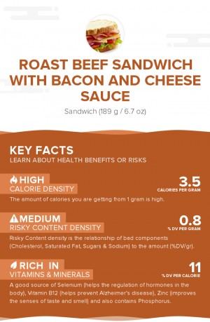 Roast beef sandwich with bacon and cheese sauce