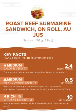 Roast beef submarine sandwich, on roll, au jus