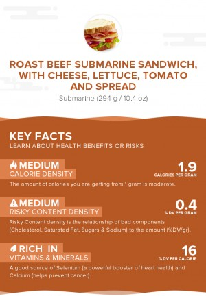 Roast beef submarine sandwich, with cheese, lettuce, tomato and spread