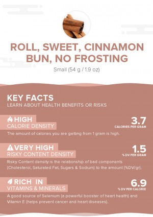 Roll, sweet, cinnamon bun, no frosting