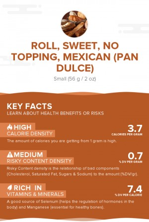 Roll, sweet, no topping, Mexican (Pan Dulce)
