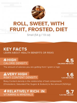 Roll, sweet, with fruit, frosted, diet