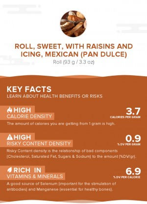 Roll, sweet, with raisins and icing, Mexican (Pan Dulce)