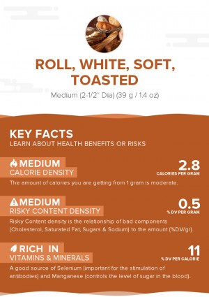 Roll, white, soft, toasted