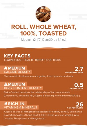 Roll, whole wheat, 100%, toasted
