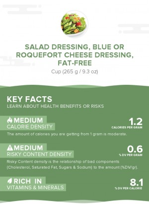 Salad dressing, blue or roquefort cheese dressing, fat-free