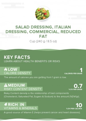Salad dressing, italian dressing, commercial, reduced fat