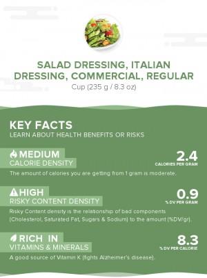Salad dressing, italian dressing, commercial, regular