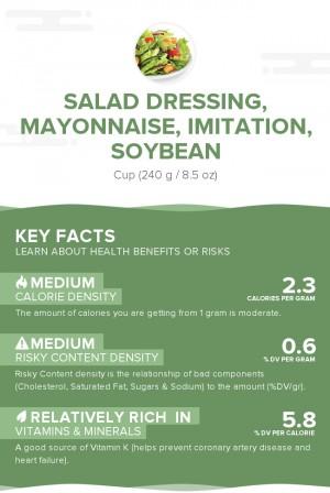 Salad dressing, mayonnaise, imitation, soybean