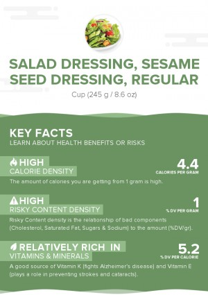 Salad dressing, sesame seed dressing, regular