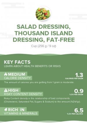Salad dressing, thousand island dressing, fat-free