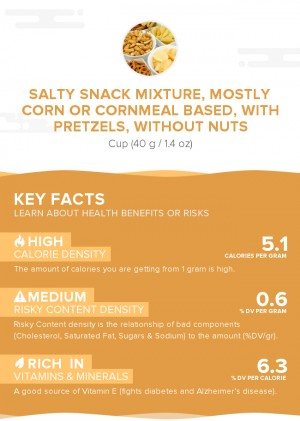 Salty snack mixture, mostly corn or cornmeal based, with pretzels, without nuts