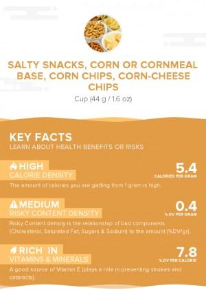 Salty snacks, corn or cornmeal base, corn chips, corn-cheese chips