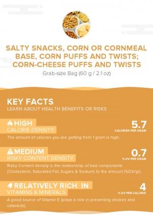 Salty snacks, corn or cornmeal base, corn puffs and twists; corn-cheese puffs and twists