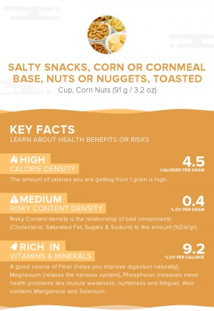 Salty snacks, corn or cornmeal base, nuts or nuggets, toasted