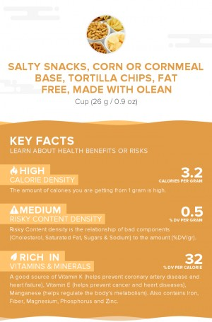 Salty snacks, corn or cornmeal base, tortilla chips, fat free, made with Olean