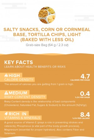 Salty snacks, corn or cornmeal base, tortilla chips, light (baked with less oil)